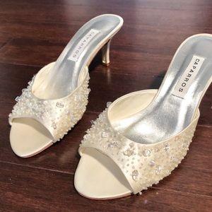 Caparros Satin Beaded Heels Size 8.5